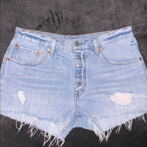 Levi's 501 high rise distressed jean shorts 31